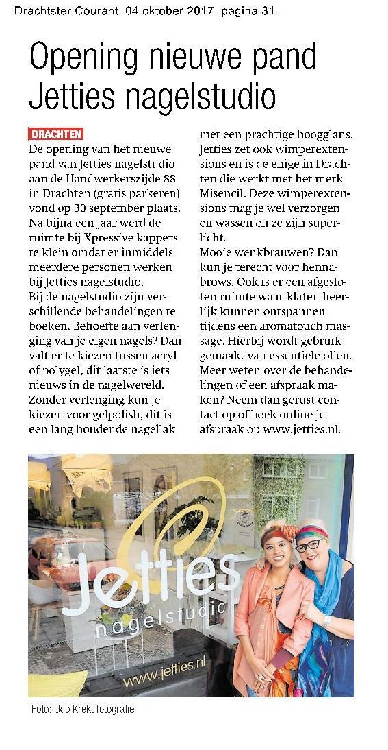 Nieuwe Opening Jetties nagelstudio aan de Handwerkerzijde 88 in Drachten